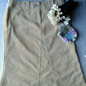 🍉Vintage style corduroy khaki maxi skirt